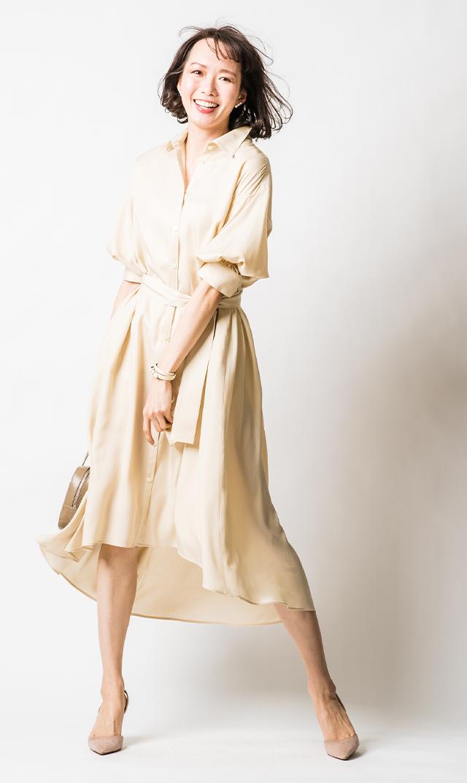 【ヴィリーナ】カトリーナシャツドレス(シルクベージュ)
