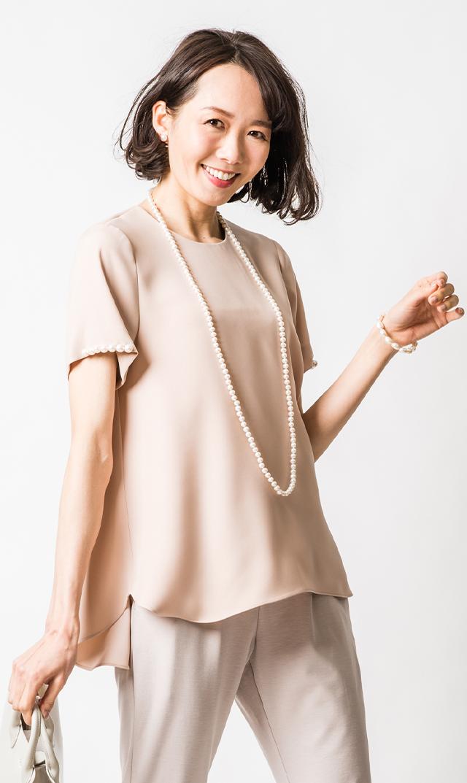 【ヴィリーナ】ポーリーンパールトップス(スモークピンク)