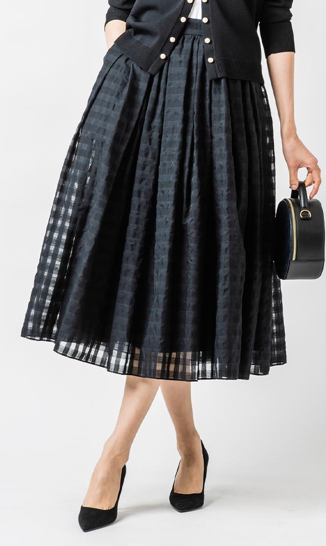 【ヴィリーナ】オードリースカート(ブラック×ブラック)
