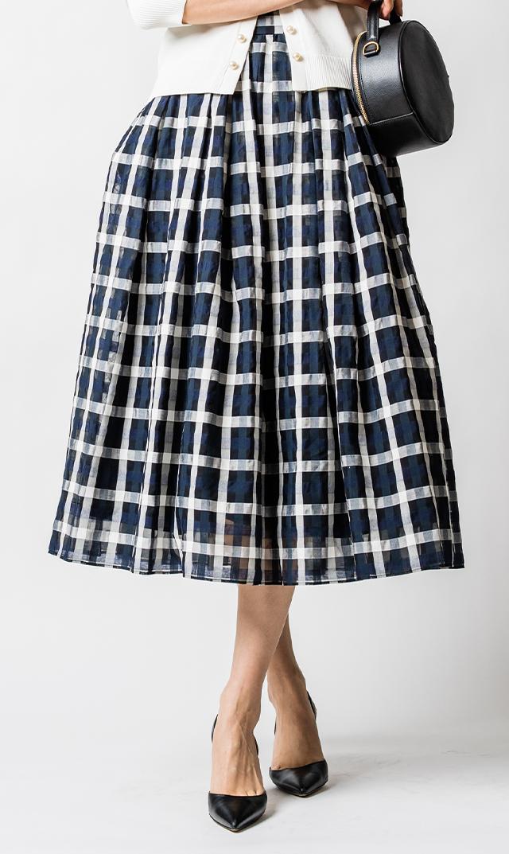 【ヴィリーナ】オードリースカート(ネイビー×ホワイト)