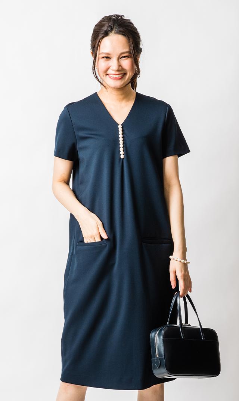 【ヴィリーナ】イネスパールナーシングドレス(ネイビー)