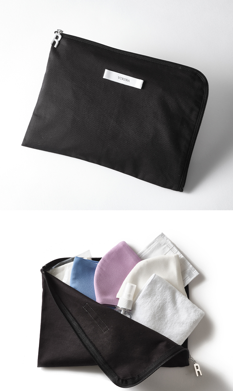 【ヴィリーナ】抗菌・抗ウイルス機能繊維加工技術クレンゼ®使用のマスクケース(ブラック)