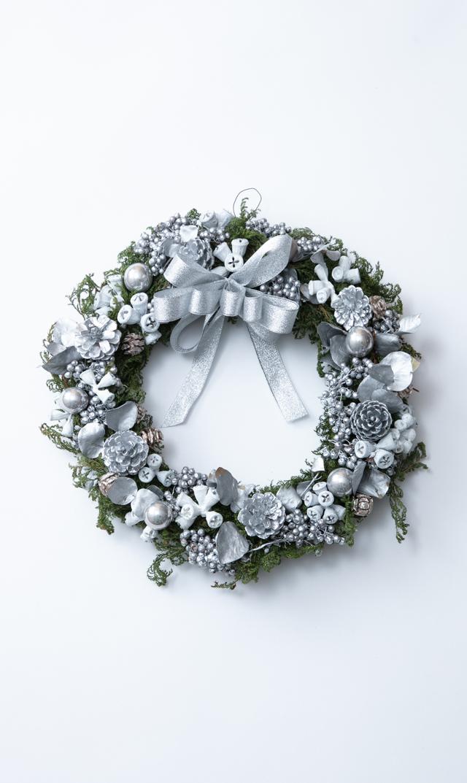 【かるかや】数量限定ヴィリーナ別注クリスマスフレッシュリース(シルバー)