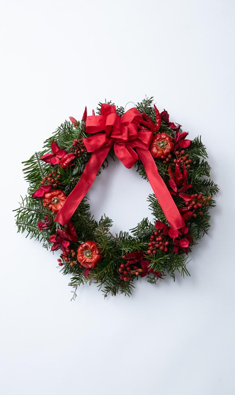 【かるかや】数量限定ヴィリーナ別注クリスマスフレッシュリース(レッド)