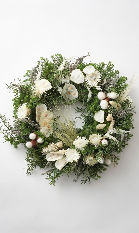 【かるかや】数量限定ヴィリーナ別注クリスマスフレッシュリース(ホワイト)