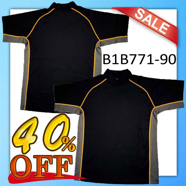 【1枚までメール便OK】ハイネックプラクティスTシャツ [B1B771-90] ブラック 半袖【40%OFF】