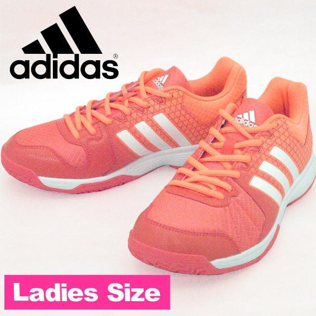 【即納】アディダス(adidas) 室内ゲームスニーカー レディース Ligra 4 W [BA9666] イージーコーラルS17/ランニングホワイト/グローオレンジS14 おしゃれ靴