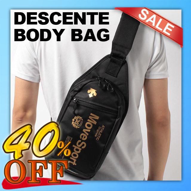 【即納】デサント(DESCENTE) スポーツ ボディバッグ [DAC8725-BKGD] ブラック×ゴールド メンズ レディース ワンショルダーバッグ 斜めがけバッグ セール