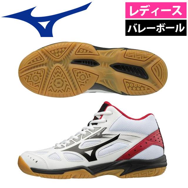 【即納】ミズノ(mizuno) レディース ミドルカット バレーボールシューズ サイクロンスピード2 [V1GC1985-09] ホワイト×ブラック×レッド