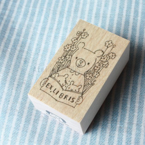 BOUSスタンプ-蔵書票*熊の親子