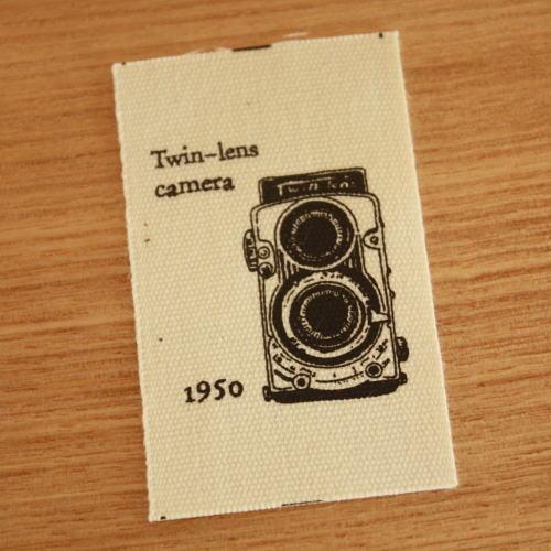 綿平織-二眼カメラ(黒)