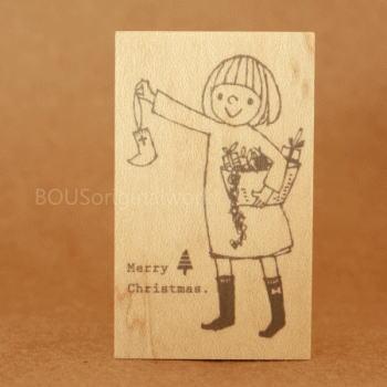 BOUSスタンプ-Merry Christmas*女の子とリース♪