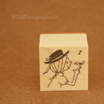BOUSスタンプ-小鳥と女の子♪