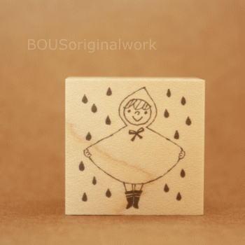BOUSスタンプ-雨ふりレインコート!