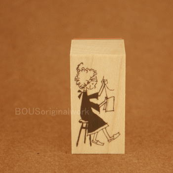 BOUSスタンプ-少女とお裁縫。