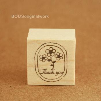 BOUSスタンプ-ラベル*Thankyou.+お花。