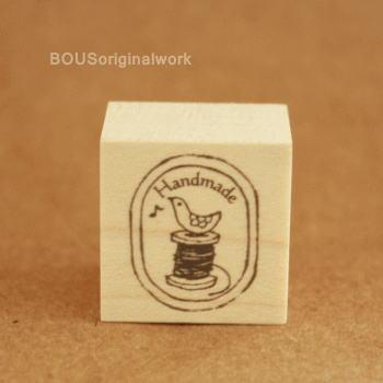 BOUSスタンプ-ラベル*handmade+糸まき。