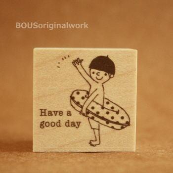 BOUSスタンプ-Have a good day*浮き輪と男の子。