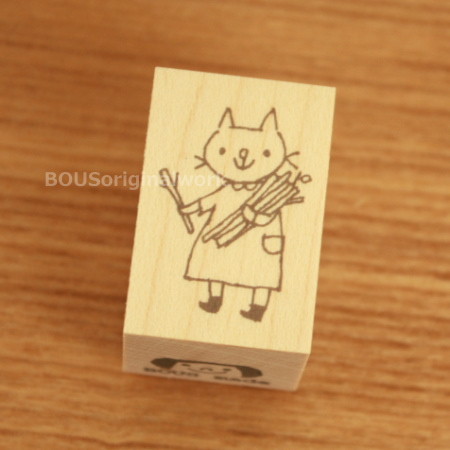 BOUSスタンプ-薪と猫。