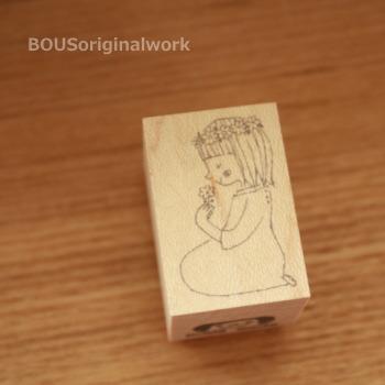 BOUSスタンプ-女の子と小さい花。