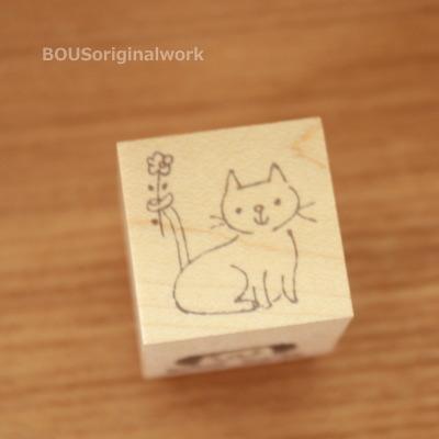 BOUSスタンプ-ネコと小さい花。