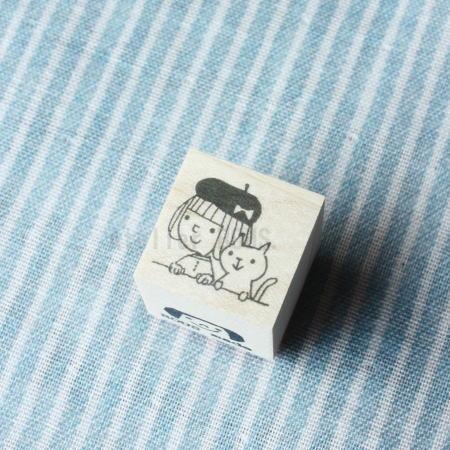 BOUSスタンプ-ベレー帽とねこ。