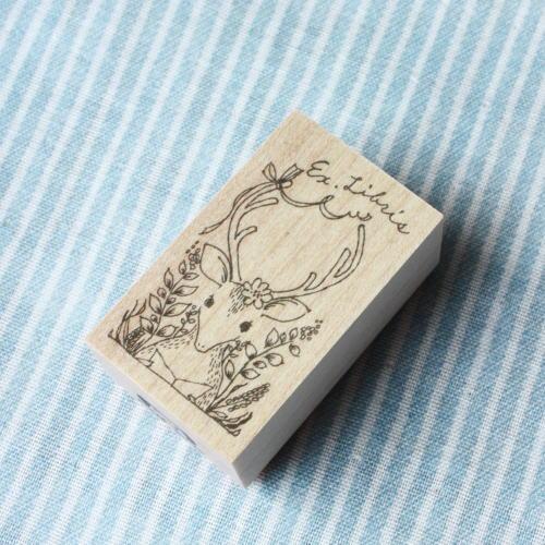 BOUSスタンプ-蔵書票*花畑と鹿