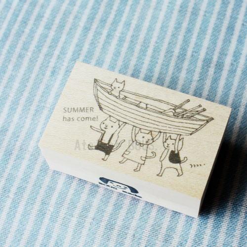 BOUSスタンプ-夏とボートと猫たち。