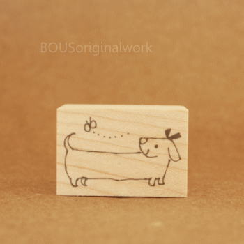 BOUSスタンプ-ちょうちょと子犬。