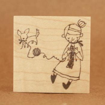 BOUSスタンプ-子犬と編みもの