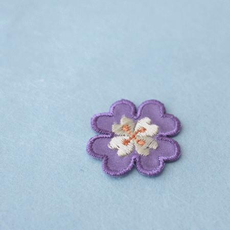 アップリケ-紫の花びら(1枚)