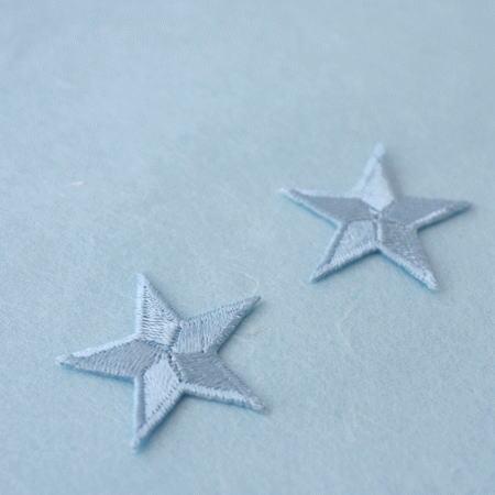 アップリケ-中サイズの星・水色(1枚)
