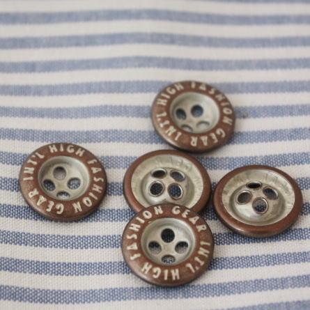 メタルボタン15mm-GEAR INT'L(茶×シルバー)