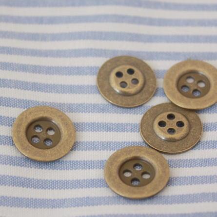 メタルボタン15mm-プレーン(アンティークゴールド)