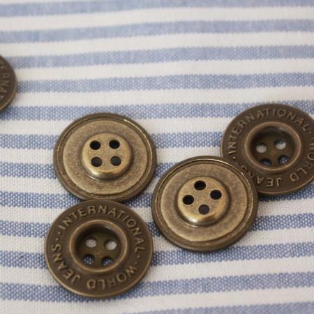 メタルボタン17mm-WORLD JEANS(アンティークゴールド)