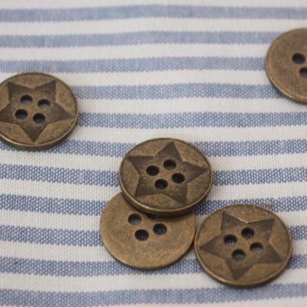 メタルボタン15mm-スター(アンティークゴールド)