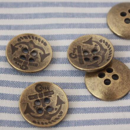 メタルボタン18mm-アンカー(アンティークゴールド)
