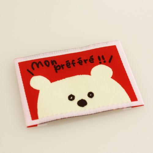 ばら刺繍タグ‐かくれんぼくま(赤色)