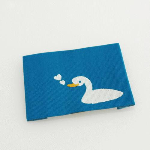 ばら刺繍タグ‐あひるのハート(水色)