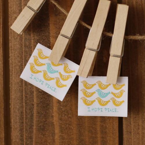 ばら刺繍タグ‐BOUSとり(黄)