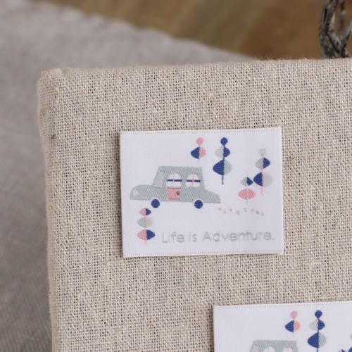 ばら刺繍タグ‐BOUSくるま(桃)
