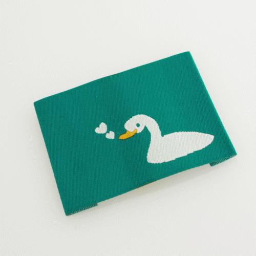 ばら刺繍タグ‐あひるのハート(青緑)