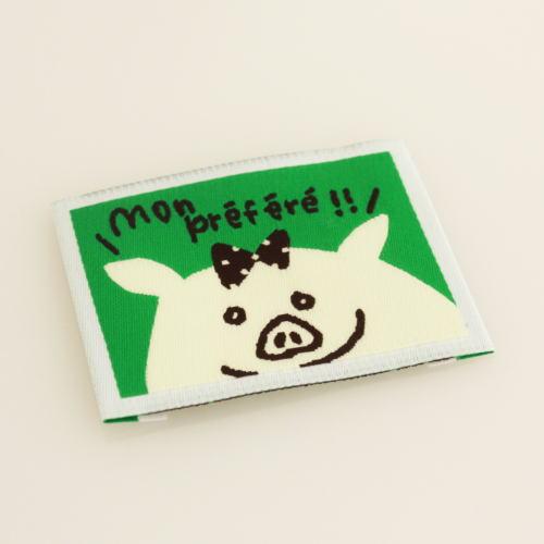 ばら刺繍タグ‐かくれんぼぶた(緑色)