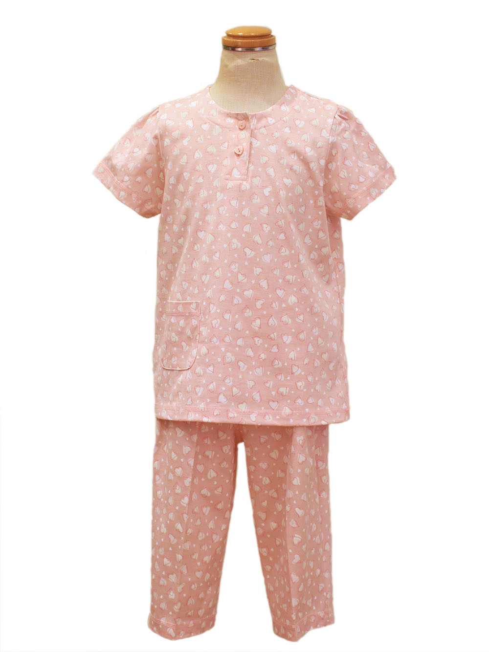 光るパジャマ ハート柄(半袖、七分パンツ)