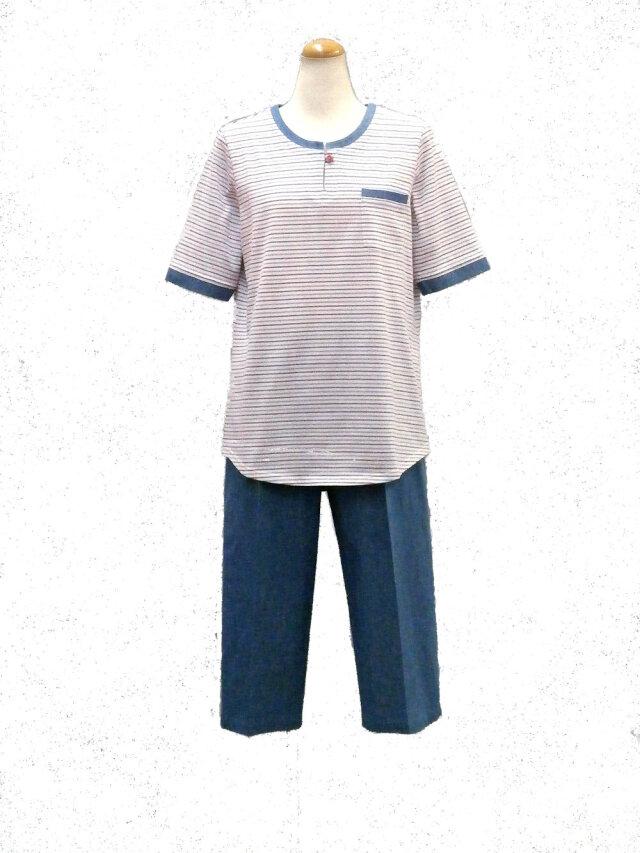 天竺細ミックスボーダー×インディゴデニム(五分袖、七分パンツ)