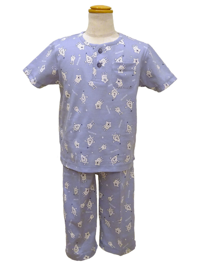 光るパジャマ モンスター柄(半袖、七分パンツ)