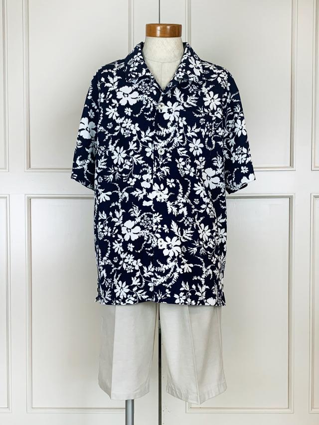 天竺ハイビスカス柄×ダンガリー無地(半袖、五分パンツ)パジャマ袋付き