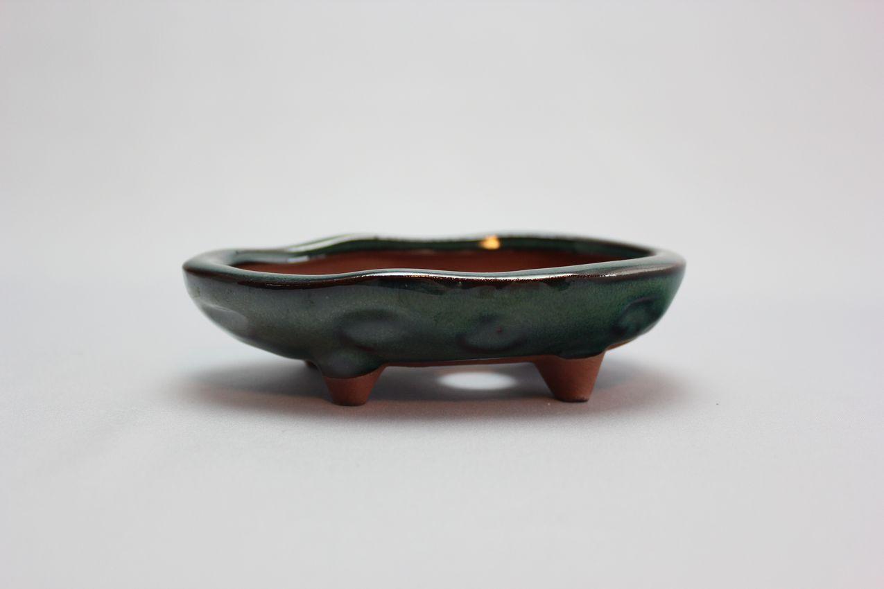 楕円変形足付,織部,4号,中国鉢,植木鉢