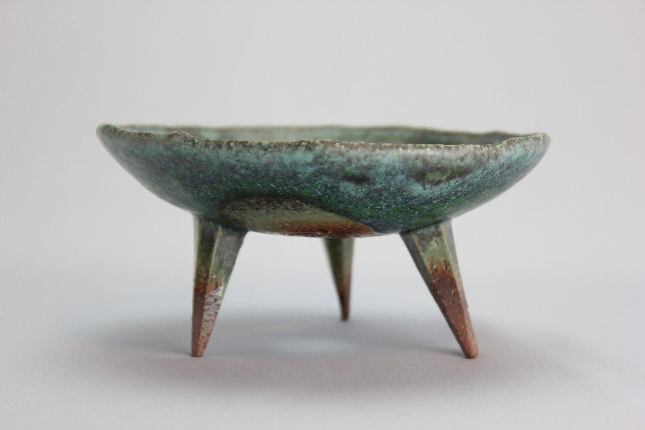 青竹釉高足付浅鉢,4.5号,信楽焼,植木鉢,盆栽鉢