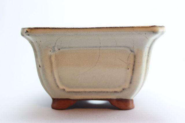 正方外縁額入,クリーム,4号,中国鉢,植木鉢